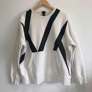 H&M Men's Oversized White & Black Pullover Sz L